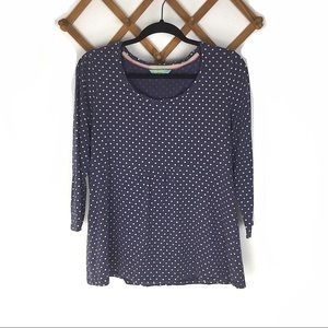 Boden Polka Dot Blue Top Size 14 Baby Doll